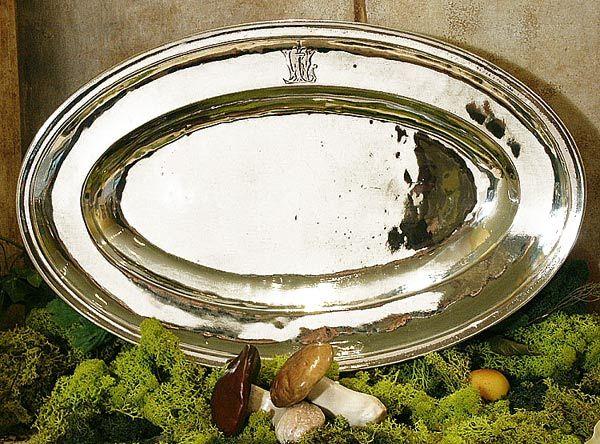 Plat+ovale+Sougy etain aspect argent massif