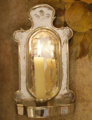 Applique Monastere en etain aspect argent massif