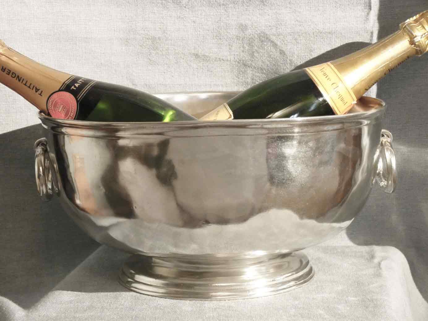 cadeau vasque à champagne etain aspect argent massif