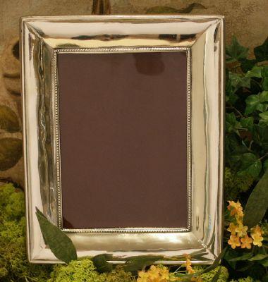 Cadre rectangulaire Perle n3 en etain aspect argent massif