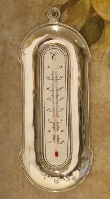 Thermometre Celsius en etain aspect argent massif