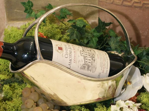 Porte+bouteille+Orsay etain aspect argent massif