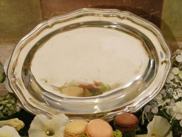 Plat  ovale Regence petit modele etain aspect argent massif