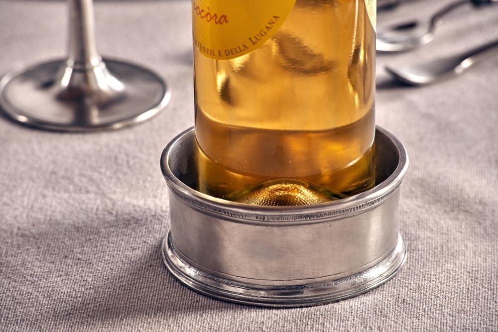 Dessous de bouteille etain aspect argent massif