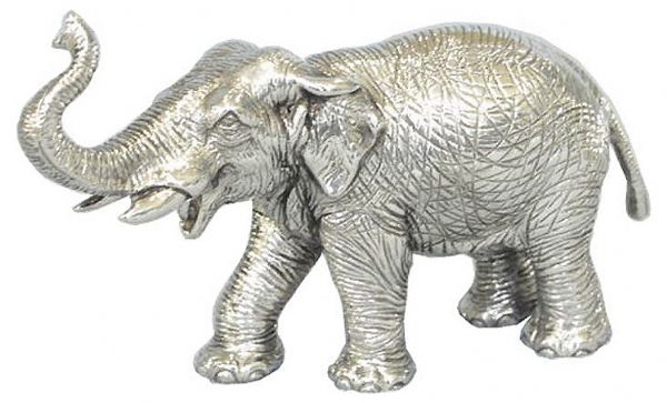 elephant en etain brillant aspect argent massif