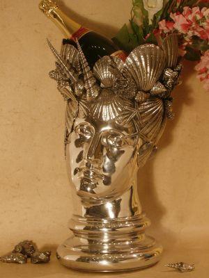 Vase+calypso etain aspect argent massif