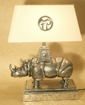 rhinocéros lampe en etain