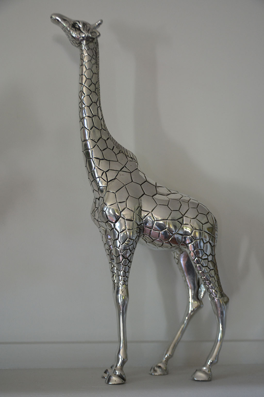 cadeau girafe decorative ht 47cm girafe aspect argent massif