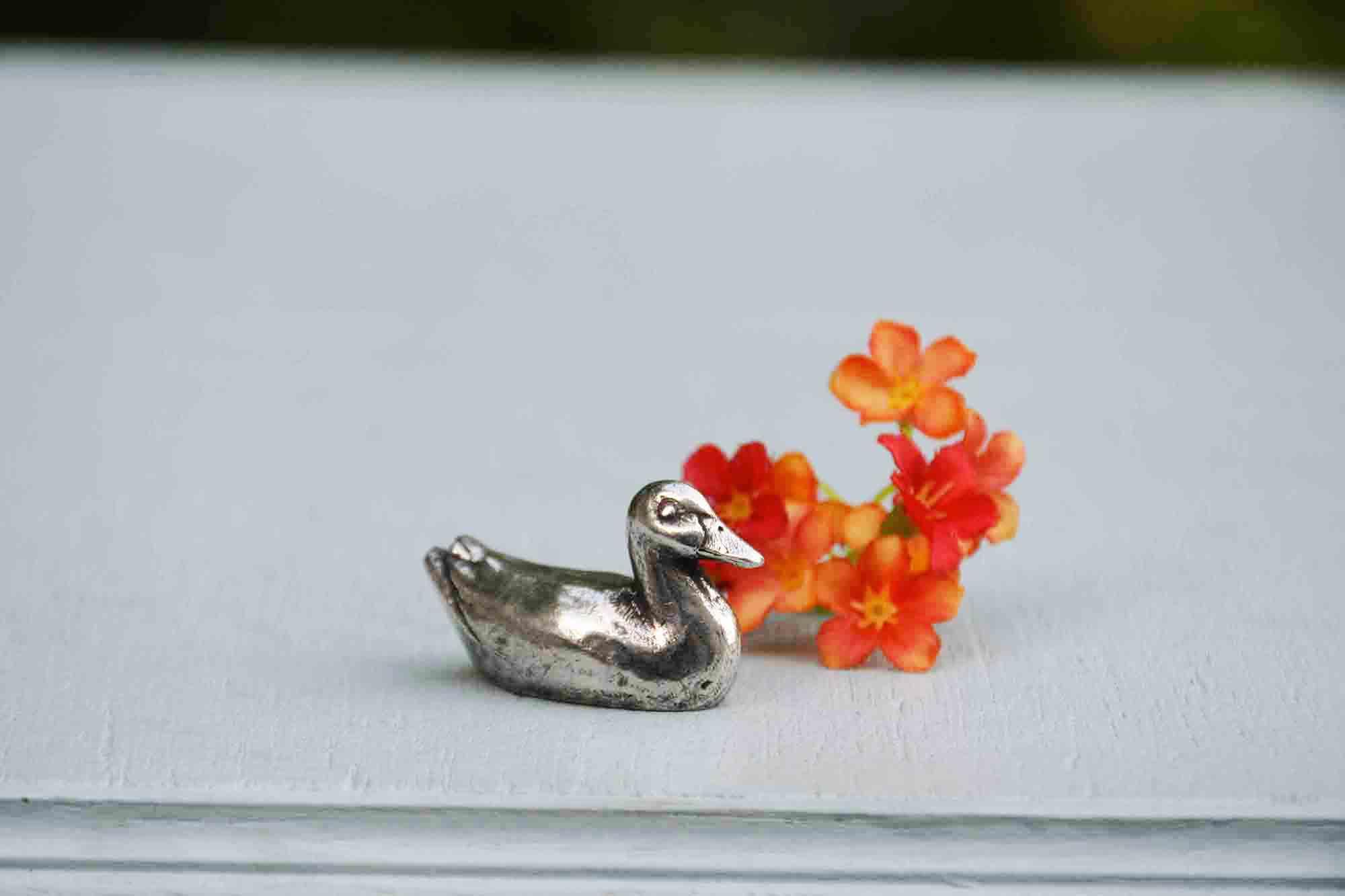 Canard mini etain aspect argent massif