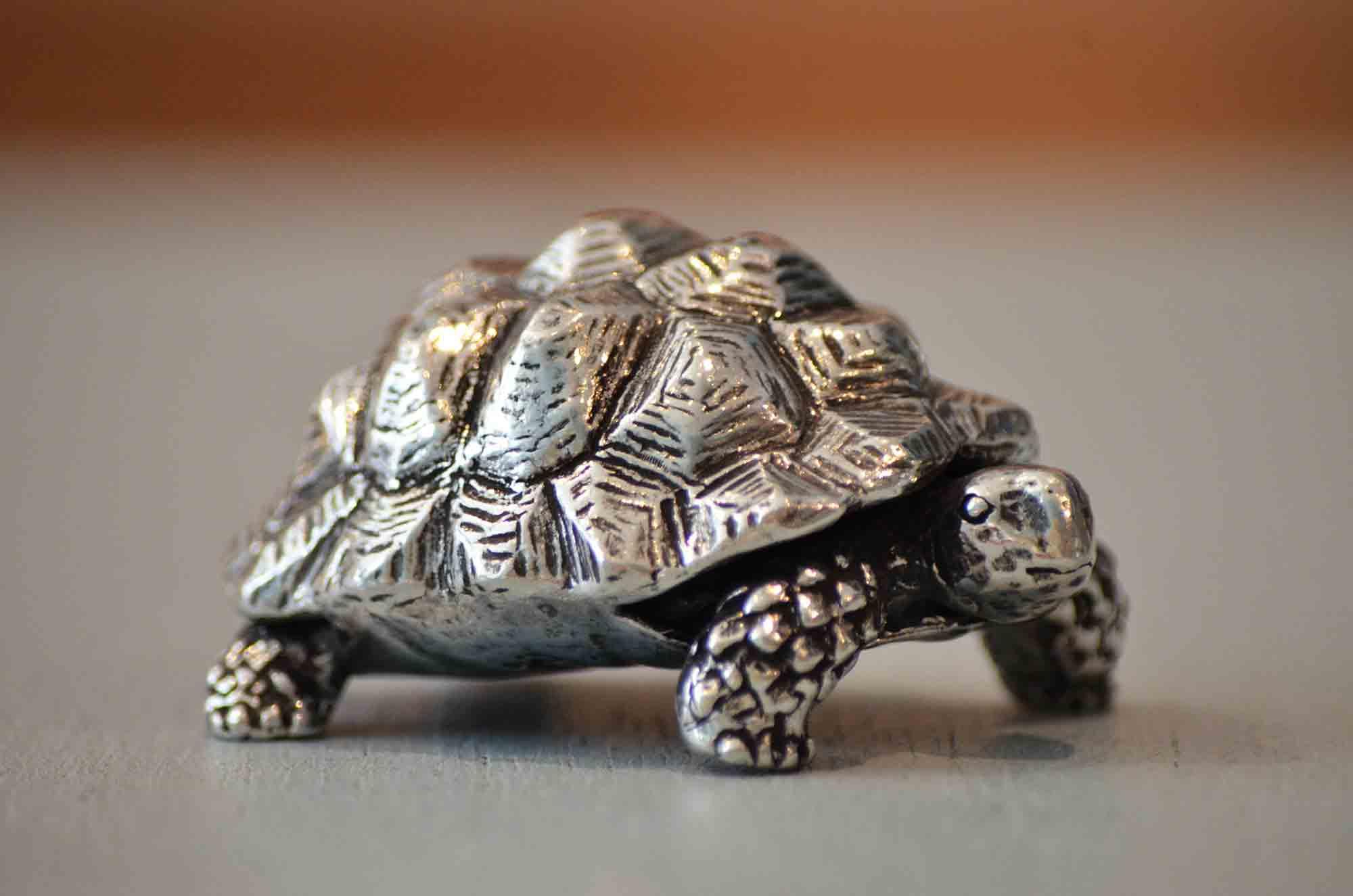 cadeau tortue étain aspect argent massif