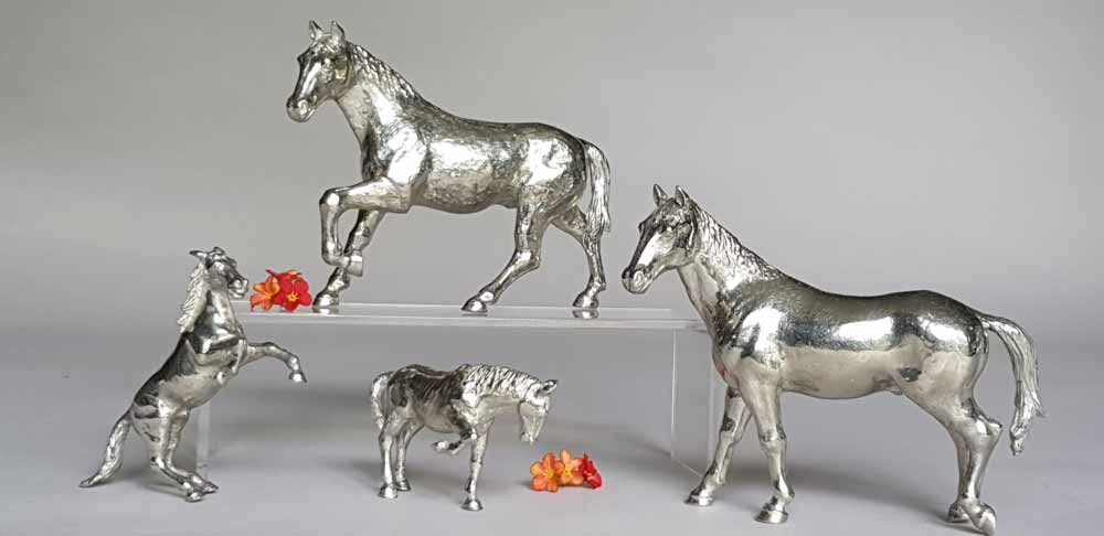 Collection figurines animalieres etain aspect argent massif