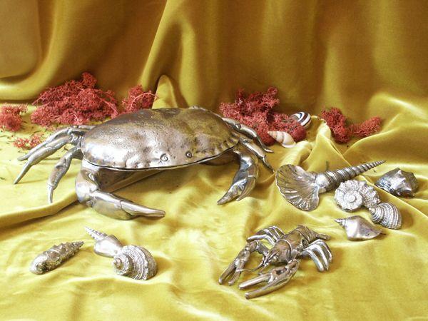 Boite crabe ecrevisse coquillages cadeaux etain aspect argent massif