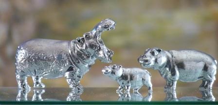 hippopotames cadeaux etain aspect argentmassif