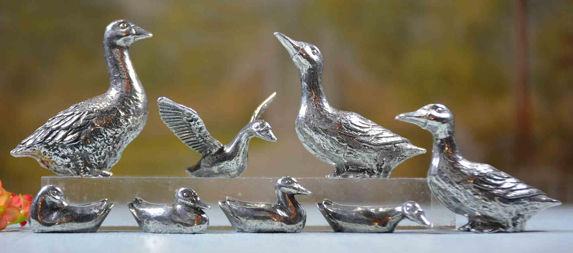 cadeau canards et oie etain aspect argent massif
