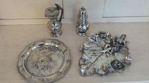 Lot objets en étain apres restauration