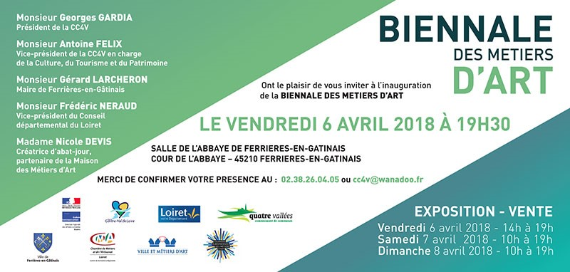 invitation 2 biennale des metiers d art 6 au 8 avril 2018