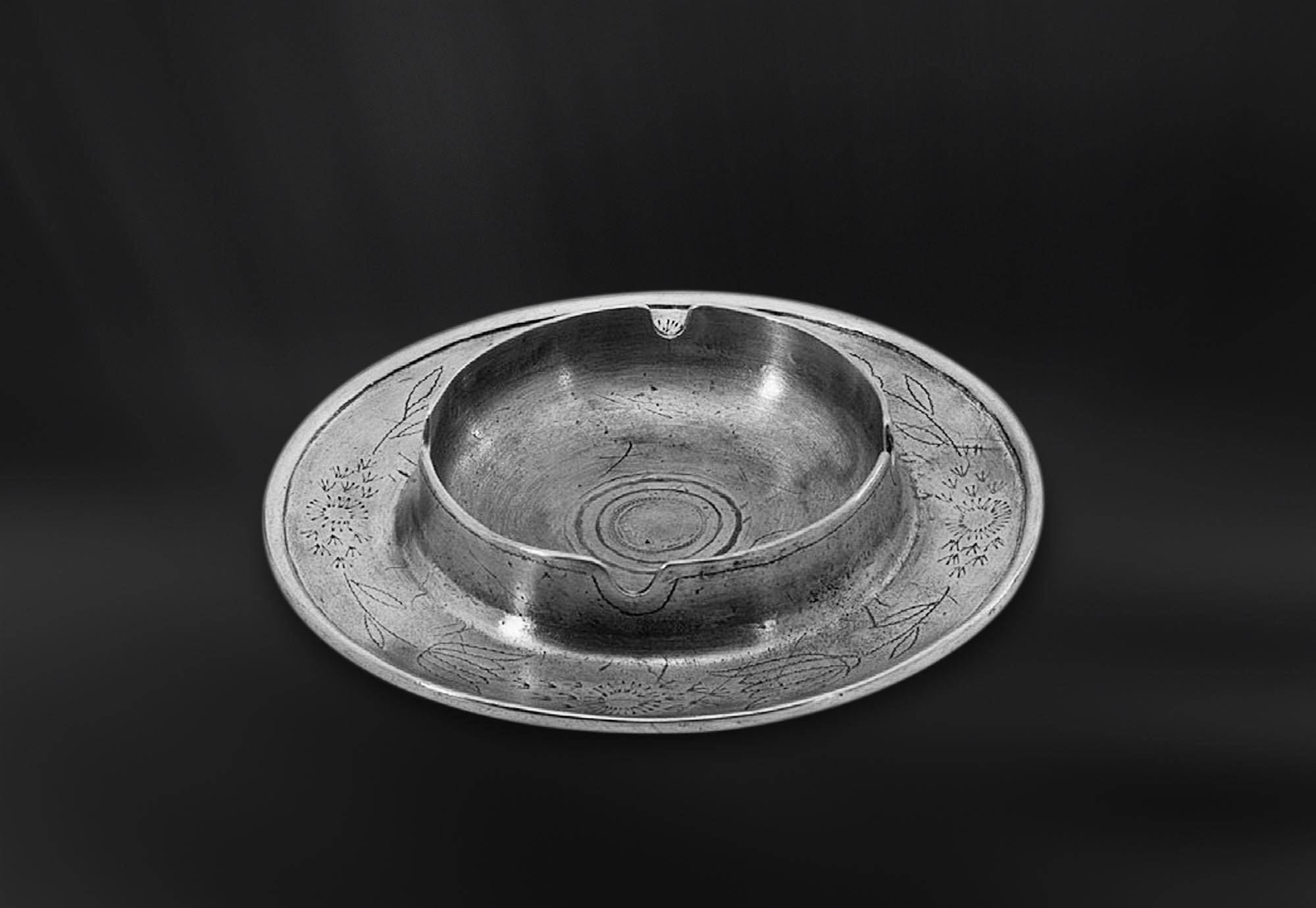 CENDRIER etain antique