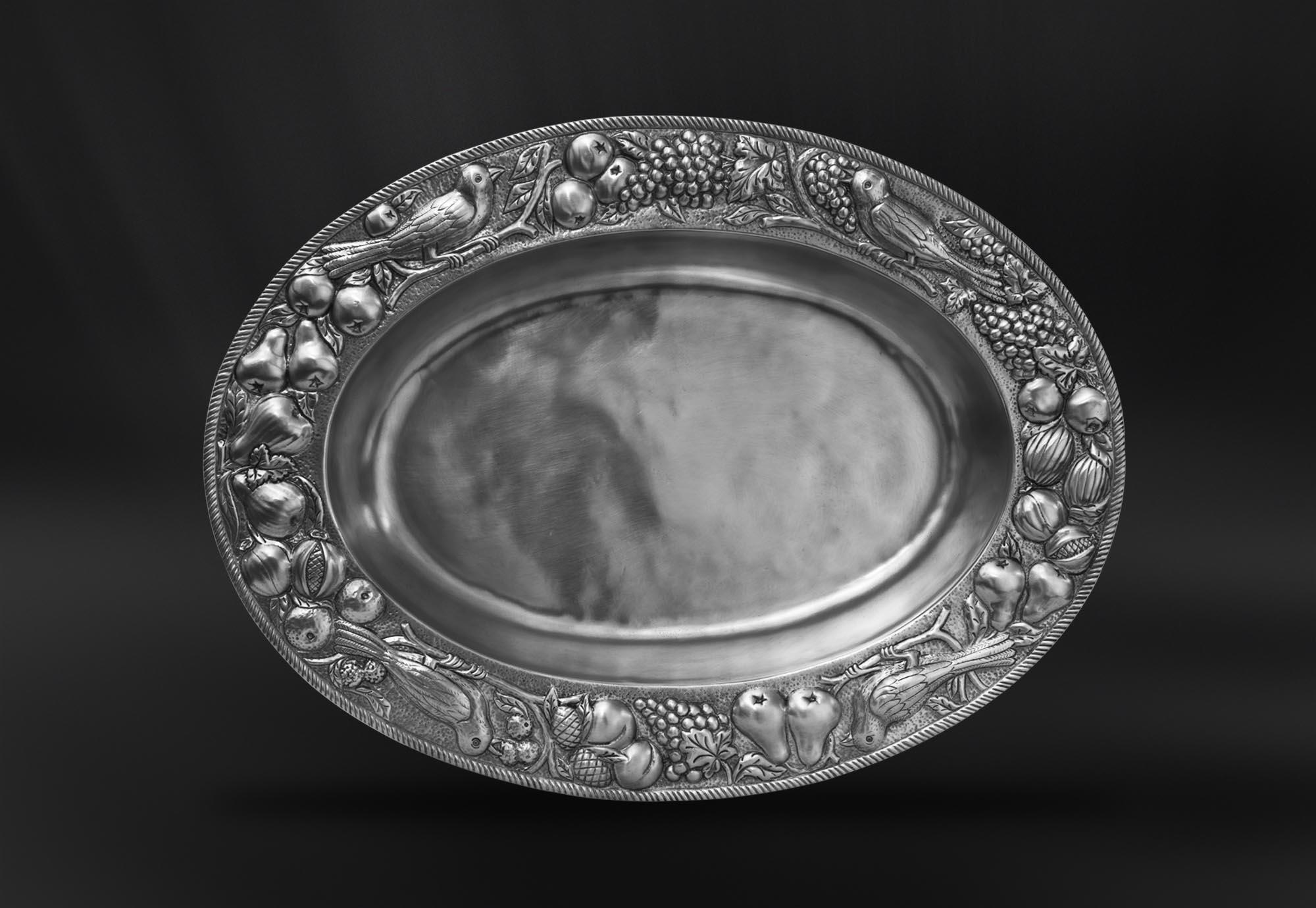 PLAT CREUX etain antique